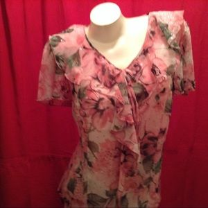 Pink Floral Blouse - 14-16